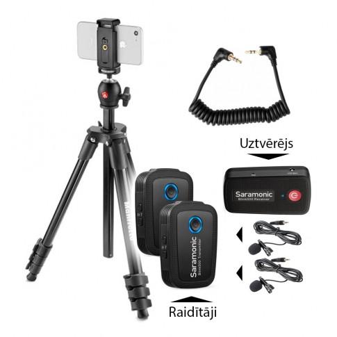 Bezvadu mikrofonu (2) komplekts telefoniem ar statīvu | noma